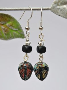 Trilobite Fossil Earrings with black square beads and by Beechtree, $18.00