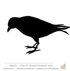 Crow Silhouette Bird Silhouette Stencil Template Crow