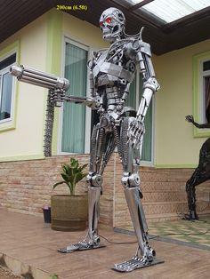 latest terminator statue sculpture genisys movie style life size scrap metal art for sale