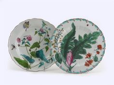 Two Chelsea botanical plates painted with large floral specimens and scattered insects, one with a large moth hovering above, brown and red anchor marks Chelsea, Large Moth, Kintsugi, China Patterns, Fine Porcelain, Vintage China, Dinner Plates, Tabletop, Stoneware