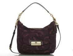 Coach Signature Kristin Chainlink Shoulder Hobo Bag Purse Tote 18295 Plum