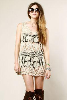 Crochet Dress | Sheer Crochet Tunic | Thrifted & Modern