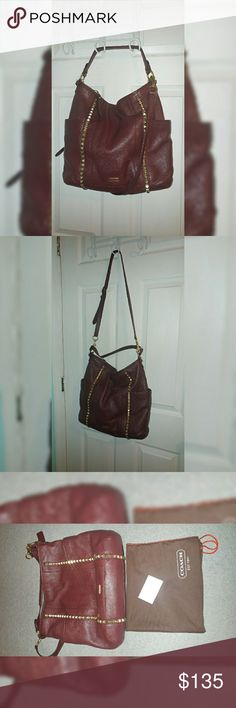 Coach Studded Sherry Hobo Leather Bag Beautiful leather bag! Comes with straps, dustbag, and care card. Size is large. Depth is 5, Length is 15, and Bag Height is 13 inches. Inside is very clean. Coach Bags Hobos