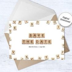 Rustic Save the Date  Printable Save the Date  Downloadable image 4 Announcement Cards, Wedding Announcements, Scrabble Wedding, Scrabble Tile Art, Happy Birthday Printable, Printable Cards, Printables, Rustic Save The Dates, 65th Birthday