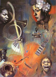 """Noteworthy"" -  a pastel by Brooks Garten Hauschild. Truly a 'labor of love', this piece includes several Jazz and Blues greats, like a young Billie Holiday, Dinah Washington, Duke Ellington and Nina Simone at top left. Coming from a musical family and playing piano by ear as a tiny tot, this piece is especially near and dear to my heart!"
