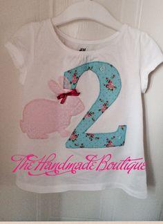 2nd birthday appliqué bunny t-shirt www.fb.com/thehandmadeboutique2013