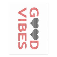 Good vibes - heart - black and red. postcard - merry christmas postcards postal family xmas card holidays diy personalize