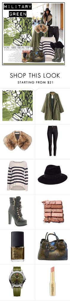 """""""Attention! Go Army Green...."""" by cindy88 ❤ liked on Polyvore featuring moda, Marni, Velvet by Graham & Spencer, Maison Michel, Luichiny, Bobbi Brown Cosmetics, NARS Cosmetics, Gucci, Victorinox Swiss Army e Napoleon Perdis"""