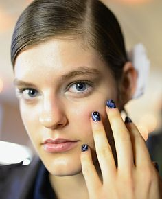 Another great shot of the beautiful, hand-painted nail designs at the Michael van der Ham S/S 2014 London Fashion Week runway show. #CND #nails #manis