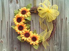 Spring /Summer  Sunflower Wreath Front Door by imaproudcrafter, $42.00