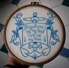 Anywhere I Lay My Head - Nautical Tom Waits Embroidery. £20.00, via Etsy.
