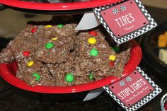 Chocolate Rice Krispy Treat & M&M Stoplight Treats Rice Krispie Treats, Rice Krispies, Stop Light, Race Cars, Birthday Parties, Chocolate, Party, Kids, Inspiration