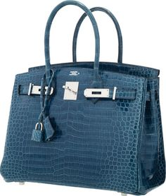 Hermes 30cm Shiny Blue Roi Porosus Crocodile Birkin Bag withPalladium Hardware.