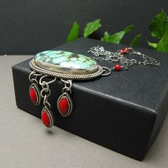 Silver boho necklace  trquoise red coral by MadeBySunflower, $195.00