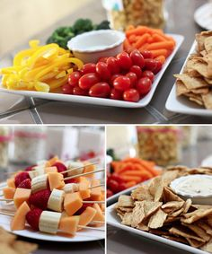Appetizer type food with fruits and vegs are always the healthier and tastier choice. Vouch for the colors. Never forget to eat a rainbow each day!