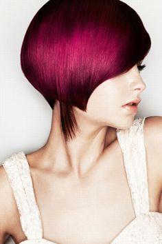 Medium Length Hairstyles Ideas. Dark Pink Hair