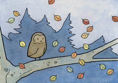 Hey, I found this really awesome Etsy listing at http://www.etsy.com/listing/109216244/autumn-owl-falling-leaves-art-print-5x7