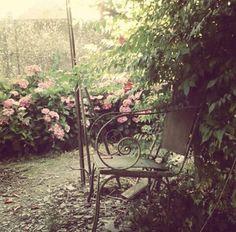 #deco #jardin #chaise #ancien #fleurs #hortensia