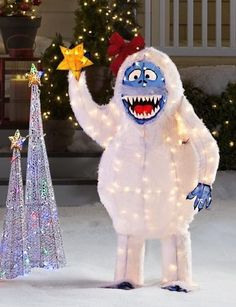"ABOMINABLE SNOWMAN Rudolph BUMBLE Lighted Christmas Yard Decoration 56"" Tall"