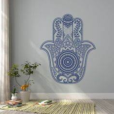 Hamsa Mandala Wall Decal Fatima Hand Wall Decal by HomyVinyl