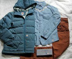 Carhartt Women's Portland Down Jacket, Linwood Chambray Shirt, Calumet Long-Sleeved Crew Neck, Women's Series 1889 Slim Double Front Dungarees, Acrylic Headband