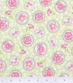 Calico Fabric-Doily Flower Green. Joann Fabrics.