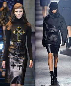 """Leather skirts. Incorporated into many 2012 trends, such as goth (with all kinds of shapes), vintage (with A-line skirts), peplum (as an accent belt to a """"regular"""" skirt). Leather was also fundamental to the """"opposing forces"""" trend, with laces and sheer fabrics."""