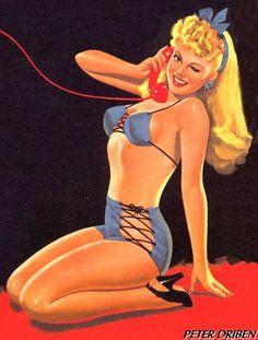 Pin-Up in Blue Bikini, Eyeful Magazine cover (Peter Driben, 1945)