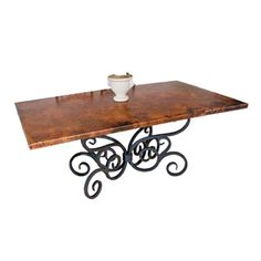 Shop for rustic dining furniture, dining table and rustic furniture at Black Forest Decor. Rectangle Dining Table, Rustic Dining Furniture, Copper Top Table, Dining Room Furniture, Room Furniture, Furniture, Rustic Dining Room, Wrought Iron Dining Table, Dining Table