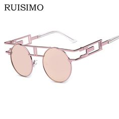 9a50cd1e5e7 Fashion Metal Frame Steampunk Sunglasses Women Brand round Designer Unique  Men Gothic Sun glasses Vintage Oculos