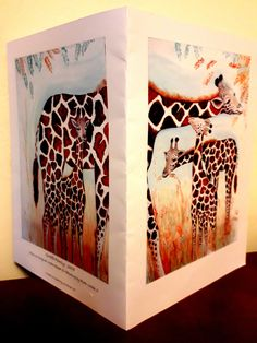 "Greetings card 'Giraffe family' safari animals art card, stationery gift idea printed front and back in glowing colour,large 8x6""blank card"