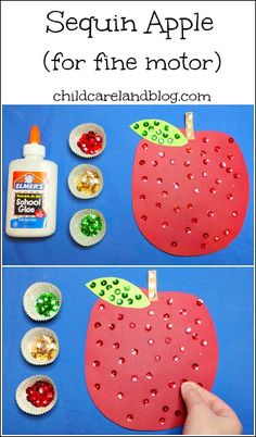 Sequin Apple - Pinned by @PediaStaff – Please Visit ht.ly/63sNt for all our pediatric therapy pins