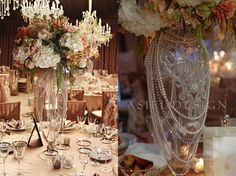 Pearls and flowers vintage glamour centrepiece.