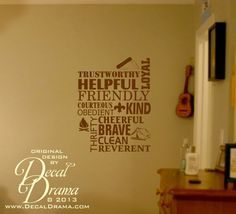 Vinyl Wall Decal - The Boy Scout Law Trustworthy Loyal Helpful Friendly Courteous Kind Obedient Cheerful Thrifty Brave Clean Reverent, BSA on Etsy, $23.00