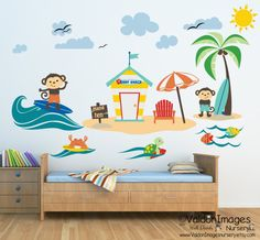 Take your little ones on a surfing adventure with this adorable beach theme nursery wall decor. Surfing monkey wall decal beach decor nursery wall decal