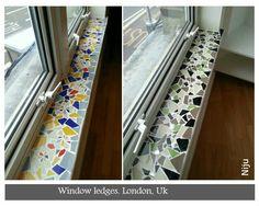 Mosaic window ledges // Rebords de fenêtre en mosaïque www.julianieto.com Bathroom Window Sill Ideas, Tiled Window Sill, Window Ledge, Bathroom Windows, Mosaic Art, Mosaics, Mosaic Bathroom, Spanish Style Homes, Mosaic Projects