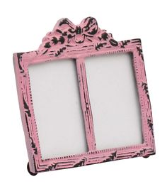 Bulk Wholesale Handmade Double Photo Frame / Picture Stand in Metal Work Decorated with a Bow Design on the Top in Pink Color with Distressed-Look – Table / Wall Décor – Rustic-Look Home Décor