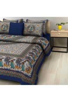 Double Bed Cotton Printed Bedsheet In Blue And Grey Colour.This Admiring Bed  Sheet Is