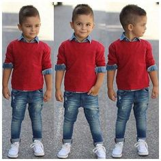 Love this boy's outfit!skinny jeans,denim shirt,sweater in red…love the cool h… Love this boy's outfit!skinny jeans,denim shirt,sweater in red…love the cool h… – Fashion Kids – Fashion Kids, Toddler Boy Fashion, Little Boy Fashion, Toddler Boy Outfits, Toddler Girl, Fashion Games, Style Fashion, Baby Dress Clothes, Baby Boy Dress