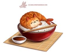 Daily Paint Shrimp Tempurra by Cryptid-Creations on DeviantArt Cute Food Drawings, Cute Animal Drawings, Kawaii Drawings, Art Et Illustration, Food Illustrations, Chibi, Animal Puns, Animal Food, Cute Food Art
