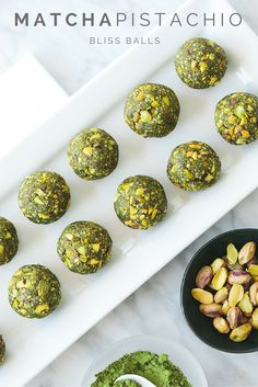 ENERGY BITES | Made from matcha green tea, these energy balls are refined sugar free and the perfect sweet, healthy snack. One or two will satisfy your hunger and sweet tooth in one fell swoop. Green balls of bliss + matcha happy dance = the perfect treat.