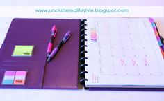 The Uncluttered Lifestyle: My 2013 Planner and Uncluttered Eating Create a pocket in current calendar for post-its and note paper.