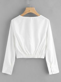 V Neckline Surplice Crop Top