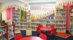 Bowden Primary School Library // Pencils // feature wall // from ohpopsi. Library Wall, Kids Library, Class Library, Library Ideas, Preschool Library, Elementary School Library, Elementary Schools, Primary School, School Library Displays