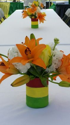 Centerpieces, Reggae theme. Inexpensive  soup can and craft paint.