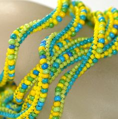 Turquoise, Lemon, and Lime Twist...  A one-of-a-kind twisted ndebele rope that looks good enough to eat!  (But don't, as the beads are made of glass.)  :-)  by time2cre8, $ 82