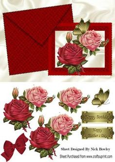 Pretty red & pink roses on a card and envelope, with gold butterfly and velvet bow, also can be seen in other designs makes a pretty card