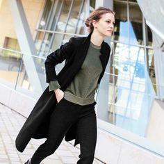 Marine Vacth // low bun, coat, metallic green sweater & pants #style #fashion #allblack #streetstyle #french