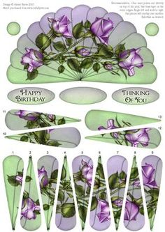 "Lavender Roses Fan Sheet on Craftsuprint designed by Julene Harris - This lovely fan has decoupage fan elements that overlap one another to create a beautiful image of lavender roses. Fan panels are numbered in order. This sheet could be used to make two cards, or layer elements onto main image to create one card. Included labels: ""Happy Birthday"", ""Thinking Of You"", and one blank label you can customize for any occasion. Embellish with ribbon, rhinestones, glitter, etc. as desired. Please…"