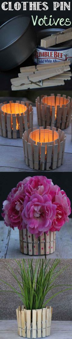 Clothespin-Votive---Make-these-votive-in-minutes-with-clothes-pins-and-empty-tuna-cans.-The-also-make-a-great-little-planter.-Tested-and-Reviewed-by-one-of-the-3-crazy-sisters-at-@Madefrompinterest.
